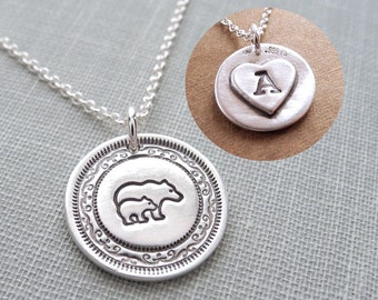 Personalized Mini Mother and Baby Bear Necklace, Bear and Cub, New Mom Necklace, Fine Silver, Sterling Silver Chain, Made To Order