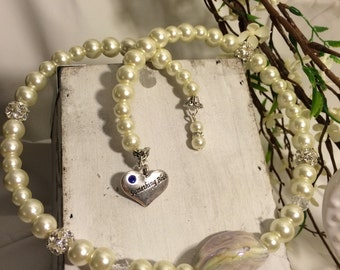 "Ivory Pearl Wrap Necklace with a ""Something Blue"" charm"