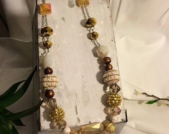 Chain and Beaded Yellow/Brown Necklace