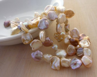 Top drilled multi color keshi pearls 8-10mm 1/2 strand