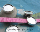 15pcs  14mm(cabochon size) tibetan silver  round bezel pendant blanks--slider leather trays-bracelets
