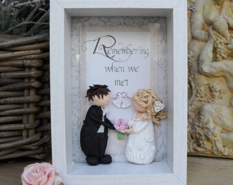 Personalised Wedding Gift, Bride & Groom, Decoupage, Polymer Clay Shadow Box Plaque
