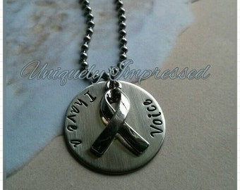 ABUSE  Awareness Ribbon Survivor I have a voice-I am your voice-Hammered Metal Cause Necklace Uniquely Impressed