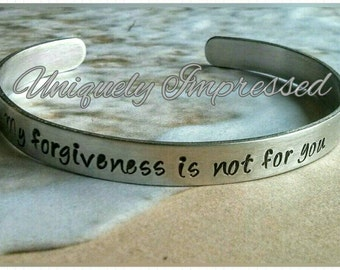 Forgiveness Healing Strength Metal Jewelry Bracelet Cuff Hammered Encouragement Personalized Uniquely Impressed