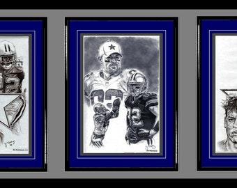 Dallas Cowboys ART- Emmitt Smith, Jason Witten & Troy Aikman