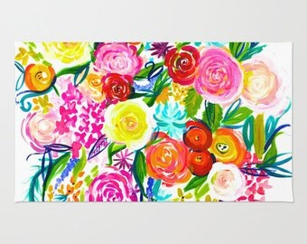 Ready to Ship Colorful Bright and Bold Summer Floral Painting Print Woven Rug. Vibrant and Beautiful Floral Painting with white background.