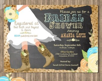 Cowboy Boot's Bridal Shower Printable Invitation Roses Chalkboard