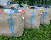 Infinity Love Knot - Nautical Knot - Destination Custom Wedding Tote Bags - Handmade Wedding Favors or Bridesmaids Gifts