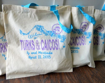 20+ Welcome to Turks And Caicos Custom Destination Wedding Welcome Canvas Tote Bag - Eco-Friendly Natural Cotton Canvas