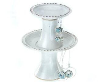 Petite 2 Tier Earring Holder in Limestone White glaze   / Earring tree | jewelry organizer | earring display | earring stand /