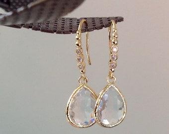 Bridesmaid Gift, Bridesmaid earrings Crystal earrings for her, Bridesmaid gold earings, gold dangle earrings, bestfriend gift