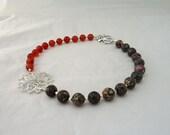Carnelian and Jasper Necklace, Handmade Carnelian and Jasper Necklace, Statement Necklace, Gemstone Statement necklace