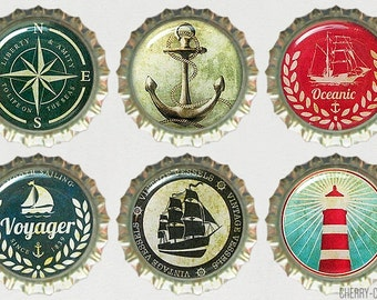 Nautical Magnet Set 6 Bottle Cap Magnets, fridge magnet, nautical decor, nautical party favor, nautical anchor decor, nautical kitchen, gift