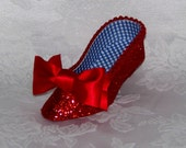 Ruby Red Slipper Low Heel  Paper Shoe, Gift Box, Favor Box