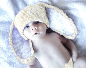 0 to 3m Bunny Ears, Newborn Baby Hat, Baby Bunny Hat, Cream White Bunny Costume Baby Shower Gift, Bunny Beanie Photograpy Prop Costume Gift