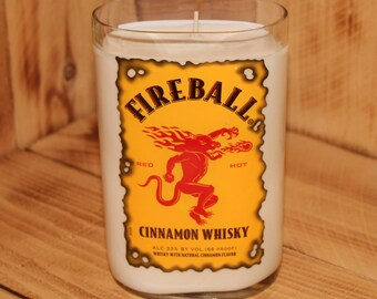 Hand Poured Scented Soy Candle made with an Upcycled Fireball Cinnamon Whiskey Bottle 200 hour burn