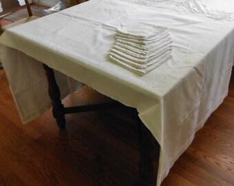 White DAMASK TABLECLOTH U0026 9 NAPKINS Set, Greek Key Design, Double Hems  Openwork Row