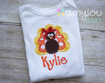 Turkey Personalized Thanksgiving BODYSUIT - Orange, Yellow, and Red -  Monogram - Short or Long Sleeves - Baby Girl - Fall - Child