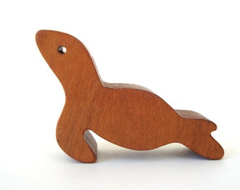Miniature Wooden Seal Toy Waldorf Wood Animal Toys Small Seal Figurine Hand Cut Scroll Saw