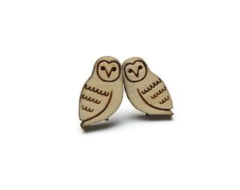 Woodland owl stud earrings ~ laser cut jewellery