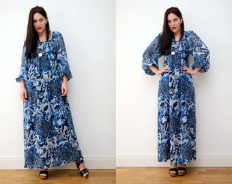 Vintage Indian Boho Dress Hippie Dress Balloon Sleeve Floral Gauze Cotton Maxi Dress 70s
