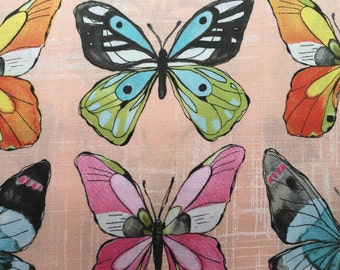 Michael Miller- flutter- blush - butterfly, butterfly fabric, butterfly cotton, butterfly cotton fabric, quilting fabric, patchwork fabric
