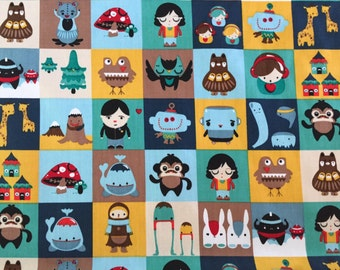 Monsters and aliens,  cotton fabric, monster fabric, alien fabric, alien cotton fabric, monster cotton fabric