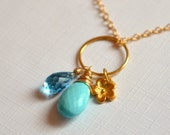 Real Turquoise Necklace, Sleeping Beauty Turquoise, Gold Flower Charm, Swiss Blue Topaz, Gemstone Jewelry, Free Shipping
