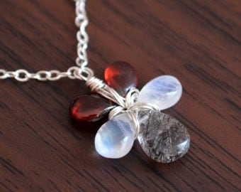 Sterling Silver Gemstone Necklace with Garnet Moonstone and Black Tourmalinated Quartz