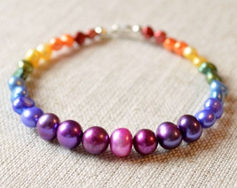 Beaded Bracelet, Rainbow Colors, Bright Fun Jewelry, Sterling Silver, Freshwater Pearl, Free Shipping