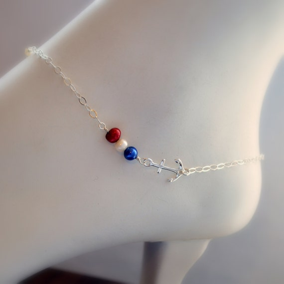 Silver Anklet, Anchor Anklet, Sterling Silver, Freshwater Pearl, Nautical Red White and Blue, Summer Jewelry, Free Shipping