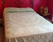Vintage Green and Off White Hobnail Chenille Candlewick Bedspread Maybe Bates