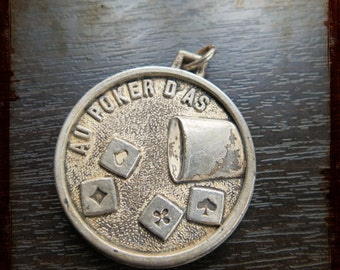 Vintage large French Dice game Silver Medal - relief Jewelry pendant from France