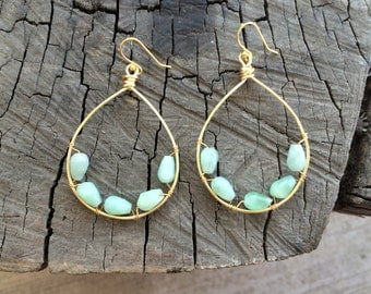 Teal Jade Hoops