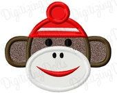 Digitizing Dolls Sock Monkey Applique Machine Embroidery Design 2.5x2 4x4 5x7 6x10 INSTANT DOWNLOAD