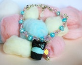 Turquoise cupcake bracelet with pink and pale blue freshwater cultured pearls and czech crystal beads