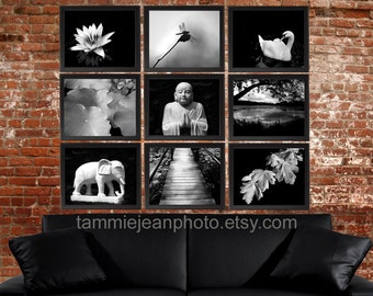 ZEN - Set of 9 Original Photographs - Black and White Buddha Minimal Swan Lotus Water Lily Elephant Eastern Asian Instant Decor Wall Art