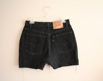 """Vintage Levis Black Cut Off Jean Shorts - Size 13 Jr - 30"""" waist - USA - Cotton - Levi"""