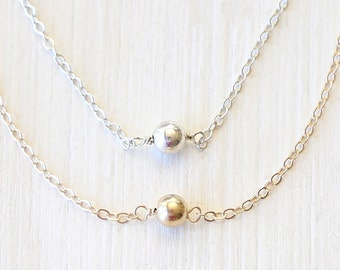 Dainty Layering Ball Necklace - 14K Gold Filled or Sterling Silver sparkling everyday delicate ball necklace