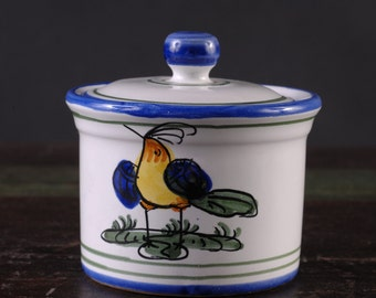 Italian Lidded Jar, hand painted ceramic with bird motif