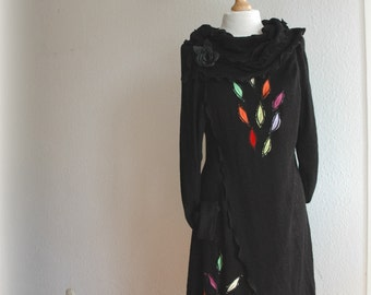 Black Cardigan Asymmetric LINEN Knitted Whit Leather Brooch With  Application Eco Friendly Sweater Wrap Clothing Natural M - XL
