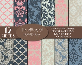 Romantic Cream Navy Pink Digital Paper, Wedding Bridal Damask, Quatrefoil Fancy Patterned Paper, Flowers, Digital Supplies, Instant Download