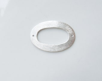 Sterling silverl,brushed,  flat oval spacer with 2 holes, connector, link (32x22mm)
