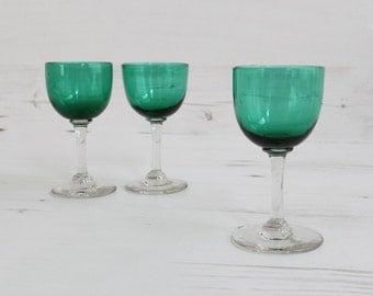 Vintage Victorian Dark Green Drinking Glasses - Edwardian Sherry Port Hand Blown Glass