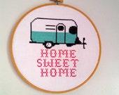cross stitch pattern Home Sweet Home trailer camper pdf