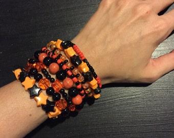 9 Bracelet ORANGE AND BLACK Color Bundle
