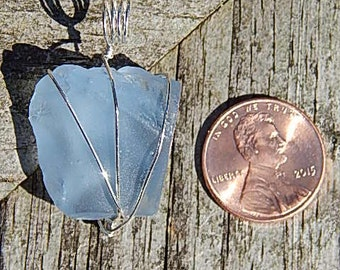 Denim Blue Sea Glass Pendant!!!