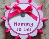 Baby footprint Theme pink Button Pin ribbon- baby pink- for Baby Shower or Birthday Party