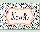 large personalized nursery art- Hand-painted -  black and white dalmatian spots- coral