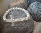 White Glass Pearl Beaded Stretch Bracelet with Silver and Pearl Sideways Cross